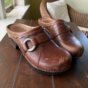 Dansko Vintage Brown Heeled Clogs
